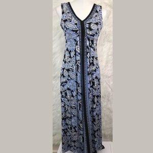 Talbots Jersey Knit Maxi Dress Blue Paisley